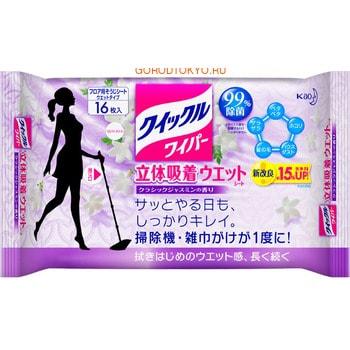 KAO «Quick Le» Влажная фибросалфетка для швабры, с дезинфицирующим эффектом, с ароматом жасмина, 16 шт.Швабры, щётки<br>Влажная фибросалфетка с успехом заменит традиционную салфетку для мытья полов.  Салфетки пропитаны очищающим раствором, поэтому не требуют дополнительных моющих средств.  Обладают дезинфицирующими свойствами ; удаляют до 99% патогенных микроорганизмов.  Салфетки отлично устраняют неприятные запахи благодаря дезодорирующему эффекту.  С помощью одной салфетки возможно осуществить уборку на площади в 24-32 квадратных метра. Способ применения: достаньте салфетку из упаковки, расправьте, накрутите на швабру, протрите загрязненную поверхность.  Плотно закрывайте упаковку после использования.   Состав: материал салфетки: полиэстер, вискоза, акрил, полипропилен;  пропитка: этанол, поверхностно-активные вещества (алкиламина оксид), дезинфицирующие вещества, отдушка.<br>