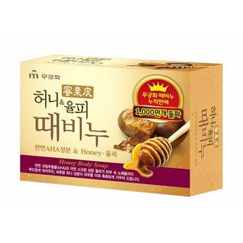 """Mukunghwa 801614 MKH Отшелушивающее и увлажняющее мыло для тела и лица с медом и скорлупой каштанов """"Honey Body Soap"""" 100гр/24"""