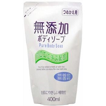 """Nihon """"No Added Pure Body Soap"""" Натуральное бездобавочное жидкое мыло для тела, для всей семьи, мягкая упаковка, 400 мл."""
