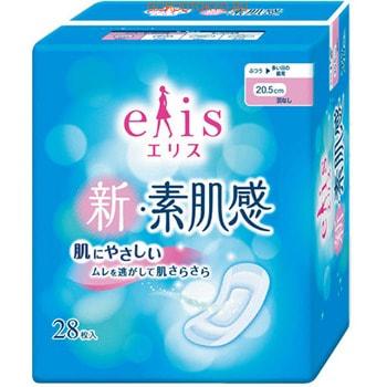 """Daio Paper Japan """"Elis New skin Feeling"""" Классические гигиенические прокладки с мягкой поверхностью, без крылышек, нормал, длина 20,5 см, 28 шт."""