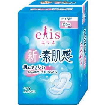 Daio paper Japan «Elis New skin Feeling» Классические гигиенические прокладки с мягкой поверхностью, с крылышками, нормал, длина 20,5 см, 22 шт.