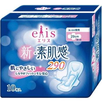 Фото Daio paper Japan «Elis New skin Feeling» Ночные классические гигиенические прокладки с мягкой поверхностью, с крылышками, макси+, длина 29 см, 10 шт.. Купить с доставкой