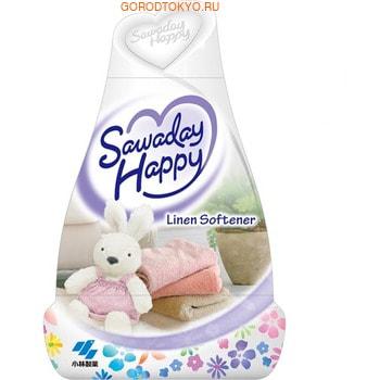 KOBAYASHI Liner Softener - Sawaday Happy Освежитель воздуха для комнаты, элегантный цветочный аромат, 150 гр.Для комнаты<br>Освежитель нейтрализует все неприятные запахи в комнате и, благодаря большому объему, надолго наполняет комнату приятным ароматом. Эффективно устраняет запахи табака, животных и т.п. Предназначен для использования в жилых помещениях.   Способ использования: удалите пленку с освежителя по отрывным линиям. Держа за основание корпуса, поверните верхнюю часть против часовой стрелки и поднимите вверх.   Состав: парфюмерная отдушка, дезодорант на основе амфотерных ПАВ, ПАВ (неионные), краситель, геслеобразующий компонент. <br> Cрок действия: 1-2 месяца в зависимости от условий в помещении.<br>