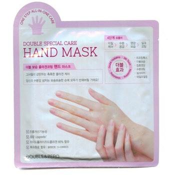 Double&amp;Zero «Double Special Care Hand Mask» Маска для рук «Комплексный уход», 2 шт. х 18 г.Кремы для рук, маски<br>Маска ; перчатки обеспечивает комплексный уход за кожей рук, кутикулой и ногтями.  Поэтапно увлажняет и мягко защищает, делает здоровой и упругой кожу рук до кончиков пальцев.  Разглаживает морщины.  Особенности продукта: <br><br>Коллаген вместо воды: маска на 66% состоит из гидролизованного коллагена; увлажняет, делает кожу рук упругой и эластичной.<br>Комплексный уход: повышение упругости, увлажнение, тонизирование, ежедневный уход за огрубевшими участками кожи и питание за одно применение!<br>Разглаживает кожу благодаря содержанию аденозина.<br>Запатентованный состав.<br><br>Четырехэтапная формула комплексного ухода: <br><br>1 этап ; уход за огрубевшими участками кожи: АНА и мочевина смягчают огрубевшие участки кожи, и способствуют более глубокому проникновению активных компонентов.<br>2 этап ; увлажнение: церамиды, коллаген, гиалуроновая кислота, а также комплекс растительных компонентов увлажняют и смягчают кожу рук, делают ее гладкой и шелковистой.<br>3 этап ; питание: молочные белки, масла ши, арганы и какао питают кожу рук, ногти и кутикулу.<br>4 этап ; шелковистое покрытие: питание и увлажнение завершается покрытием из пчелиного воска.<br><br>Способ применения: вымойте и обсушите руки, откройте упаковку, наденьте перчатки на руки, через 15-20 мин. снимите.  Оставшуюся эссенцию равномерно распределите по коже массирующими движениями.   Состав: гидролизованный коллаген (66%), BG, глицерин, PEG-8, цетил этилгексаноат, диметикон, стеариловый спирт, PEG 40-стеарат, сорбитана сесквиолеат, стеариновая кислота, гидрогенезированное растительное масло, пчелиный воск, масла арганы, ши (1500ppm), какао (1500 ppm), гиалуронат натрия, феноксиэтанол,1,2-гександиол, каприлил гликоль,пентиленгликоль, карбомер, экстракт молочных белков (1000ppm), мочевина, гидроксид калия, отдушка, аденозин, EDTA-2Na, экстракты цветов аниса, листьев алоэ вера, ягод асаи, чер