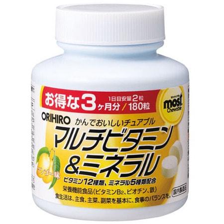Orihiro Мультивитамины и минералы со вкусом манго, 180 жевательных таблеток. (фото)