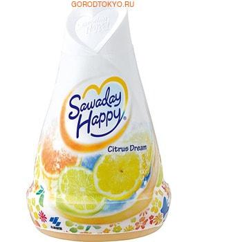 KOBAYASHI Citrus Dream - Sawaday Happy Освежитель воздуха для комнаты, свежий цитрусовый аромат, 150 гр.Для комнаты<br>Освежитель нейтрализует все неприятные запахи в комнате и, благодаря большому объему, надолго наполняет комнату приятным ароматом. Эффективно устраняет запахи табака, животных и т.п. Предназначен для использования в жилых помещениях.   Способ использования: удалите пленку с освежителя по отрывным линиям. Держа за основание корпуса, поверните верхнюю часть против часовой стрелки и поднимите вверх.   Состав: парфюмерная отдушка, дезодорант на основе амфотерных ПАВ, ПАВ (неионные), краситель, геслеобразующий компонент. <br> Cрок действия: 1-2 месяца в зависимости от условий в помещении.<br>