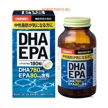 Orihiro Рыбий жир, ДГК И ЭПК c витамином Е, 180 капсул.