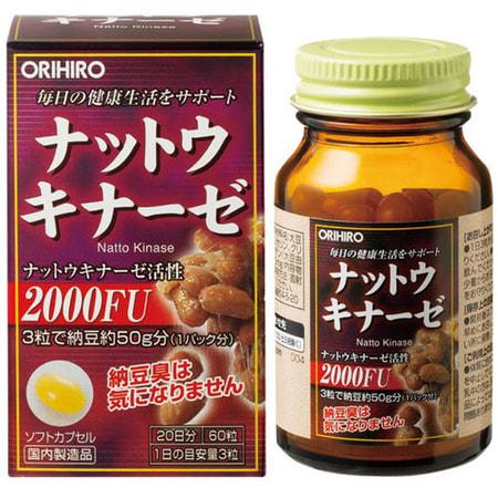 Orihiro Натто киназа - здоровье сердечно-сосудистой системы, 60 капсул.