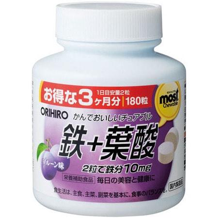 Orihiro Железо со вкусом сливы, 180 жевательных таблеток.