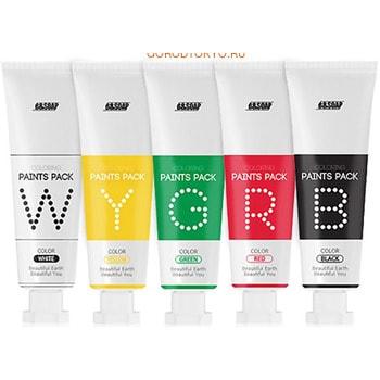 B&amp;SOAP Набор из пяти разных по цвету и функциям масок-красок для лица, 5 х 25 г.КОРЕЙСКАЯ КОСМЕТИКА<br>Не имеющий аналогов в своем роде набор COLORING Paints Pack состоит из пяти разных по цвету и функциям масок.  Набор создан специально для мультимаскинга (multimasking) ; особой техники одновременного нанесения разных по своему действию масок на разные участки кожи лица.  Это позволяет за одно применение решить сразу все проблемы кожи: сухость, обезвоженность, потеря упругости, раздражения и покраснения, расширенные поры и черные точки.    Красная маска тонизирует и заряжает энергией, рекомендуется для ухода за уставшей и тусклой кожей, склонной к раздражениям.  Ягоды годжи обладают омолаживающим эффектом и замедляют процессы старения, отлично очищают кожу и поры, обладают тонизирующим и противовоспалительным эффектом, повышают эластичность и упругость кожи. Шиповник снимает раздражение и усталость, повышает общий иммунитет кожи.  Состав: Water, Glycerin, PVP, Acrylate/Sodium Acryloyldimethyl Taurate Copolymer, 1,2 Hexanediol, dipropylene Glycol, Propnediol, Isohexadecane, Lycium Chinense Fruit Extract, CI 16255, Polysorbate 80, Butylene Glycol, Decylene Glycol, Ethylhexylglycerin, Hexylene Glycol, Camellia Sinensis Leaf Extract, hamamelis Virginiana (Withc Hazel) Leaf Extract, Propolis Extract, Hydrolyzed Elastin, Glycosyl Trehalose, Avena Sativa (Oat) Kernel Extract, Ocimum Basilicum (Basil) Extract, Salvia Hispansia Seed Extract, Hydrogenated Starch Hydrolysate, allantoin, Totarol, Trisodium EDTA, Dipotassium Glycyrrhizate, Rosa Canina Seed Extract, Aloe Barbadensis Leaf Juice Powder, Fragrance, lavandula Angustifolia (Lavender) Extract, Rosmarinus Officinalis (Rosemary) Extract, Thymus Vulgaris (Thyme) Extract, Organum Vulgare Flower/Leaf/Stem Extract, Phenoxyethanol.   Зеленая маска успокаивает раздраженную кожу.  Экстракт морских водорослей способствует восстановлению поврежденной кожи, смягчает и питает.  Центелла азиатская ускоряет процесс регенерации к