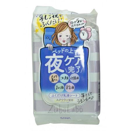 """Sana """"Zubolabo Night Toning Emulsion Sheet"""" Влажные салфетки для вечернего ухода за лицом, 35 шт."""