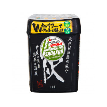 NAGARA Поглотитель запаха гелевый, с бамбуковым углем и зелёным чаем, 320 гр.Поглотители запахов для платяных, кухонных и обувных шкафов<br>Гелевый поглотитель запаха эффективно устраняет и нейтрализует неприятные ароматы в помещениях благодаря двум натуральным природным компонентам: бамбуковому углю и зеленому чаю, которые обладают большой абсорбирующей способностью.  За счет большого объема упаковки и увеличенного размера гелевых шариков средство расходуется очень медленно, одной упаковки хватает примерно на два месяца.  Устраняет все виды запахов: от табака, домашних животных, приготовления пищи (в том числе рыбы), обуви и т.д.  Рекомендуется использовать одну упаковку для одной комнаты площадью 20-35 м2.<br> Способ применения: освободить упаковку от защитной пленки.  Снять крышку и удалить алюминиевою пленку. Затем снова установить крышку. <br> Состав: очищенная вода, абсорбирующий полимер, зеленый чай, бамбуковый уголь, краситель, консервант.<br>