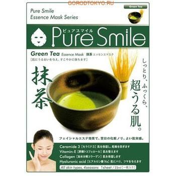 SUN SMILE «Pure Smile Essence mask» Увлажняющая маска для лица с эссенцией японского зелёного чая, 1 шт.МАСКИ ДЛЯ ЛИЦА<br>Еженедельный уход - это неотъемлемая процедура для полноценного ухода за кожей лица.  Необходимо каждую неделю использовать различные маски.  Преимущество нужно отдать увлажняющим, питательным, и маскам для повышения упругости кожи.  Все эти функции вы найдете в линии PURE SMILE.  Эти маски настоящие волшебные палочки, способные моментально преобразить вашу кожу.  Ведь сыворотка, которая используется для пропитки маски, имеет тройную концентрацию активных компонентов.  За короткое время воздействия, маска отдает всю силу полезных ингредиентов вашей коже.  Коллаген в составе сыворотки наполняет кожу влагой, восстанавливает плотность и упругость кожи.  Эссенция японского зеленого чая улучшает состояние кожи, наполняет её влагой, тонизирует и замедляет процесс старения кожи.  Способ применения: вскройте пакет с маской и нанесите ее на очищенное лицо, используя отверстия для глаз в качестве ориентиров.  Расслабьтесь и наслаждайтесь уходом за собой.  Через 10-15 минут, аккуратно снимите маску.  Остатки сыворотки вбейте в кожу подушечками пальцев.  Использовать 2-3 раза в неделю.  Состав: вода, глицерин, PEG/PPG-17/6-сополимеры, ферментированный соевый экстракт, гидролизованный коллаген, вода с гамамелисом, экстракт зеленого чая, глицирризиновая кислота 2K, ксантановая камедь, экстракт портулака, арбутин, эритрит, PEG-14М, гиалуроновая кислота Na, EDTA -2Na, метилпарабен, PEG-40 гидрогенизированное касторовое масло, PEG-60 гидрогенизированное касторовое масло, аллантоин, феноксиэтанол, ароматизатор, токоферола ацетат.<br>