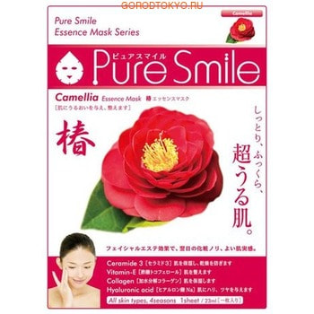 SUN SMILE «Pure Smile Essence mask» Увлажняющая маска для лица с эссенцией цветов камелии, 1 шт.КОРЕЙСКАЯ КОСМЕТИКА<br>Еженедельный уход - это неотъемлемая процедура для полноценного ухода за кожей лица.  Необходимо каждую неделю использовать различные маски.  Преимущество нужно отдать увлажняющим, питательным, и маскам для повышения упругости кожи.  Все эти функции вы найдете в линии PURE SMILE.  Эти маски настоящие волшебные палочки, способные моментально преобразить вашу кожу.  Ведь сыворотка, которая используется для пропитки маски, имеет тройную концентрацию активных компонентов.  За короткое время воздействия, маска отдает всю силу полезных ингредиентов вашей коже.  Коллаген в составе сыворотки наполняет кожу влагой, восстанавливает плотность и упругость кожи.  Эссенция камелии глубоко увлажняет кожу,  защищает кожу от негативных воздействий окружающей среды, замедляет процесс старения.  Способ применения: вскройте пакет с маской и нанесите ее на очищенное лицо, используя отверстия для глаз в качестве ориентиров.  Расслабьтесь и наслаждайтесь уходом за собой.  Через 10-15 минут, аккуратно снимите маску.  Остатки сыворотки вбейте в кожу подушечками пальцев.  Использовать 2-3 раза в неделю.  Состав: вода, глицерин, PEG/PPG-17/6-сополимеры, ферментированный соевый экстракт, гидролизованный коллаген, вода с гамамелисом, экстракт цветов камелии, глицирризиновая кислота 2K, ксантановая камедь, экстракт портулака, арбутин, эритрит, PEG-14М, гиалуроновая кислота Na, EDTA -2Na, метилпарабен, PEG-40 гидрогенизированное касторовое масло, PEG-60 гидрогенизированное касторовое масло, аллантоин, феноксиэтанол, ароматизатор, токоферола ацетат.<br>