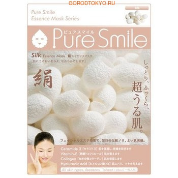 SUN SMILE «Pure Smile Essence mask» Разглаживающая маска для лица с эссенцией шёлка, 1 шт.КОРЕЙСКАЯ КОСМЕТИКА<br>Еженедельный уход - это неотъемлемая процедура для полноценного ухода за кожей лица.  Необходимо каждую неделю использовать различные маски.  Преимущество нужно отдать увлажняющим, питательным, и маскам для повышения упругости кожи.  Все эти функции вы найдете в линии PURE SMILE.  Эти маски настоящие волшебные палочки, способные моментально преобразить вашу кожу.  Ведь сыворотка, которая используется для пропитки маски, имеет тройную концентрацию активных компонентов.  За короткое время воздействия, маска отдает всю силу полезных ингредиентов вашей коже.  Коллаген в составе сыворотки наполняет кожу влагой, восстанавливает плотность и упругость кожи.  Эссенция шёлка стимулирует регенерацию и обновление тканей, великолепно разглаживает кожу, наделяет её внутренним сиянием.  Способ применения: вскройте пакет с маской и нанесите ее на очищенное лицо, используя отверстия для глаз в качестве ориентиров.  Расслабьтесь и наслаждайтесь уходом за собой.  Через 10-15 минут, аккуратно снимите маску.  Остатки сыворотки вбейте в кожу подушечками пальцев.  Использовать 2-3 раза в неделю.  Состав: вода, глицерин, PEG/PPG-17/6-сополимеры, ферментированный соевый экстракт, гидролизованный коллаген, вода с гамамелисом, экстракт шёлка, глицирризиновая кислота 2K, ксантановая камедь, экстракт портулака, арбутин, эритрит, PEG-14М, гиалуроновая кислота Na, EDTA -2Na, метилпарабен, PEG-40 гидрогенизированное касторовое масло, PEG-60 гидрогенизированное касторовое масло, аллантоин, феноксиэтанол, ароматизатор, токоферола ацетат.<br>