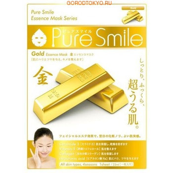 SUN SMILE «Pure Smile Essence mask» Подтягивающая маска для лица с эссенцией золота, 1 шт.КОРЕЙСКАЯ КОСМЕТИКА<br>Еженедельный уход - это неотъемлемая процедура для полноценного ухода за кожей лица.  Необходимо каждую неделю использовать различные маски.  Преимущество нужно отдать увлажняющим, питательным, и маскам для повышения упругости кожи.  Все эти функции вы найдете в линии PURE SMILE.  Эти маски настоящие волшебные палочки, способные моментально преобразить вашу кожу.  Ведь сыворотка, которая используется для пропитки маски, имеет тройную концентрацию активных компонентов.  За короткое время воздействия, маска отдает всю силу полезных ингредиентов вашей коже.  Коллаген в составе сыворотки наполняет кожу влагой, восстанавливает плотность и упругость кожи.  Экстракт коллоидного золота в составе эссенции маски эффективно разглаживает морщинки, придает коже упругость и эластичность, подтягивает, увлажняет и питает, улучшает цвет и придает здоровое сияние.  Способ применения: вскройте пакет с маской и нанесите ее на очищенное лицо, используя отверстия для глаз в качестве ориентиров.  Расслабьтесь и наслаждайтесь уходом за собой.  Через 10-15 минут, аккуратно снимите маску.  Остатки сыворотки вбейте в кожу подушечками пальцев.  Использовать 2-3 раза в неделю.  Состав: вода, глицерин, PEG/PPG-17/6-сополимеры, ферментированный соевый экстракт, гидролизованный коллаген, вода с гамамелисом, коллоидное золото, глицирризиновая кислота 2K, ксантановая камедь, экстракт портулака, арбутин, эритрит, PEG-14М, гиалуроновая кислота Na, EDTA -2Na, метилпарабен, PEG-40 гидрогенизированное касторовое масло, PEG-60 гидрогенизированное касторовое масло, аллантоин, феноксиэтанол, ароматизатор, токоферола ацетат.<br>
