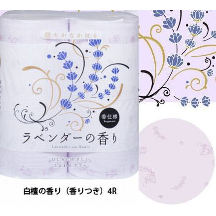 "Shikoku Tokushi Парфюмированная туалетная бумага ""Shikoku Lavender-no-Kaori"", 4 рулона, 2-х слойная. Аромат лаванды."