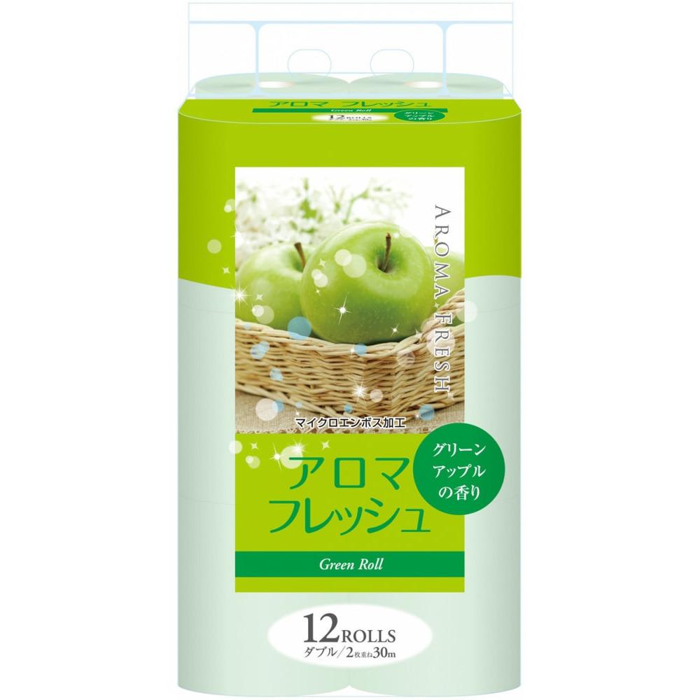"""FUJIEDA """"FUJIEDA SEISHI"""" Туалетная бумага двухслойная, с ароматом зеленого яблока, 12 рулонов по 27,5 метров."""