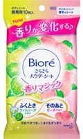 KAO «Biore» Освежающие салфетки для тела с пудрой, с дезодорирующим эффектом, аромат лайма и персика, 10 шт.