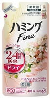 KAO «Hamming Fine» Кондиционер для белья с антибактериальным и дезодорирующим эффектом, с ароматом жасмина, запасной блок, 480 мл.