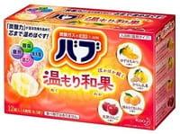 KAO «Bub Fruit Harmony» Шипучие таблетки для принятия ванны, 4 аромата (мёд, имбирь, кумкват, яблоко), 12 х 40 г.