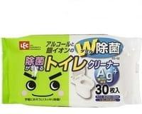 LEC Влажные салфетки для унитаза с ионами серебра, с дезодорирующим и дезинфицирующим эффектом, мягкая упаковка, 30 шт.