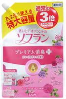 """LION Кондиционер для белья """"SOFLAN"""" с нежным аромат букета роз, малины и фруктов, 1440 мл., сменный блок."""