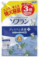 """LION Кондиционер для белья """"SOFLAN"""", деодорирующий, натуральный аромат белых трав, сменный блок, 1440 мл."""