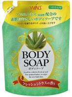 NIHON Detergent «Wins Body Soup peach» Крем-мыло для тела, с экстрактом алоэ и богатым ароматом, мягкая упаковка, 400 мл.