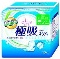Daio paper Japan «Elis Ultra Guard Absorption» Тонкие ультравпитывающие гигиенические прокладки с удерживающей влагу внутри поверхностью, с крылышками, макси, 27 см, 16 шт.