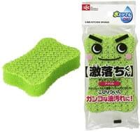 LEC Жёсткая полиуретановая губка для мытья посуды (с чистящей поверхостью из акриловой нити и алюминия), 7х35х11 мм, 1 шт.