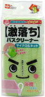 LEC Плотная губка для чистки ванны без моющих средств (микрофибра + сеточка), 85х48х155 мм.