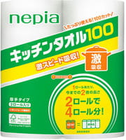 Nepia Бумажные полотенца для кухни, повышенной плотности (100 листов в рулоне), 2 шт.