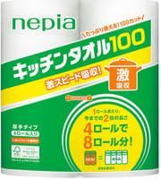 NEPIA Бумажные полотенца для кухни, повышенной плотности (100 листов в рулоне), 4 шт.