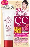 KOSE Cosmeport «Grace One» Увлажняющий СС-крем для лица с гиалуроновой кислотой и коллагеном, для кожи после 50 лет, UV SPF50+, 50 г. Светлый бежевый.
