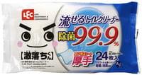 LEC Плотные влажные салфетки для унитаза с ионами серебра, с дезодорирующим и дезинфицирующим эффектом, мягкая упаковка, 25 на 16 см, 24 шт.