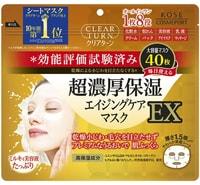 """Kose Cosmeport """"Clear Turn EX"""" Увлажняющая маска против морщин с коэнзимом Q10, коллагеном и гиалуроновой кислотой, 40 шт."""