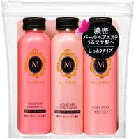 SHISEIDO «Ma Cherie» Дорожный набор: увлажняющий шампунь и кондиционер + жидкое мыло для тела.