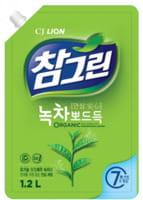 """CJ LION """"Chamgreen - Зеленый чай"""" Средство для мытья посуды, овощей и фруктов, сменная упаковка с колпачком, 1200 мл."""