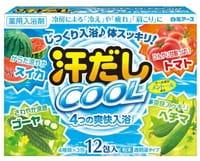 """Hakugen """"Asedashi Cool"""" Освежающая соль для ванны, с аминокислотами, витамином С и экстрактами томата и люффы, 12 пакетов по 25 г."""