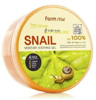 """FarmStay """"Snail Moisture Soothing Gel"""" Многофункциональный смягчающий гель с экстрактом улитки, 300 мл."""