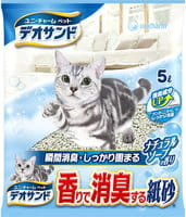 Unicharm Наполнитель бумажный для кошачьего туалета, с дезодорирующими компонентами, 5 л.