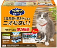 KAO Биотуалет для кошек (набор: лоток-домик, лопатка, наполнитель 2 л, подстилки 1 шт.), коричневый.