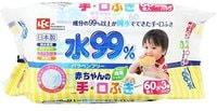 iPLUS Детские влажные салфетки для рук и лица, 99,9% воды, мягкая упаковка, 60 шт.