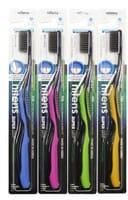DENTAL CARE «Nano Charcoal Toothbrush» Зубная щётка c древесным углём и сверхтонкой двойной щетиной (средней жёсткости и мягкой) и изогнутой ручкой, 1 шт.