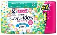 """Daio Paper Japan """"Elle Air"""" Супервпитывающие ежедневные тонкие гигиенические прокладки для обильных выделений, с поверхностью из хлопка, макси, 20,5 см, 51 шт."""