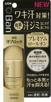 LION «Ban sweat Premium label» Премиальный роликовый ионный дезодорант-антиперспирант, блокирующий потоотделение, без запаха, 40 мл.