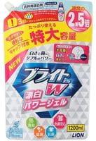 LION «Bright W» Гель-отбеливатель кислородный для стойких загрязнений «Супер яркость», мягкая упаковка, 1200 мл.