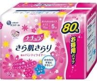 """Daio Paper Japan """"Elle Air"""" Ежедневные тонкие гигиенические прокладки анатомической формы, с мягкой поверхностью, мини+, 17 см, 80 шт."""