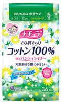 """Daio Paper Japan """"Elle Air"""" Ежедневные тонкие гигиенические прокладки анатомической формы, с поверхностью из хлопка, мини+, 17 см, 36 шт."""